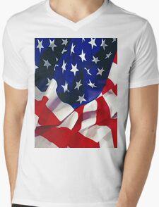 Flag United States of America Mens V-Neck T-Shirt