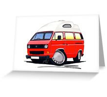 VW T25 / T3 (High Top) Red Greeting Card