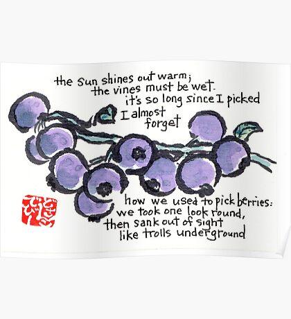 Picking Blueberries Poster