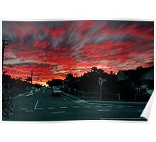 Dreary suburban street 'neath sunset Poster