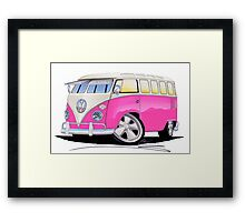 VW Splitty (23 Window) Camper Van Pink Framed Print