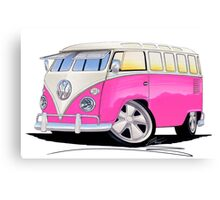 VW Splitty (23 Window) Camper Van Pink Canvas Print