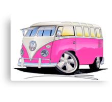 VW Splitty (23 Window) Camper Van Pink Canvas Print