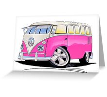 VW Splitty (23 Window) Camper Van Pink Greeting Card
