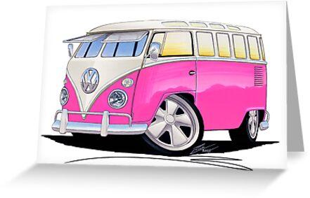 VW Splitty (23 Window) Camper Van Pink by Richard Yeomans