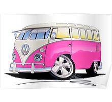VW Splitty (23 Window) Camper Van Pink Poster