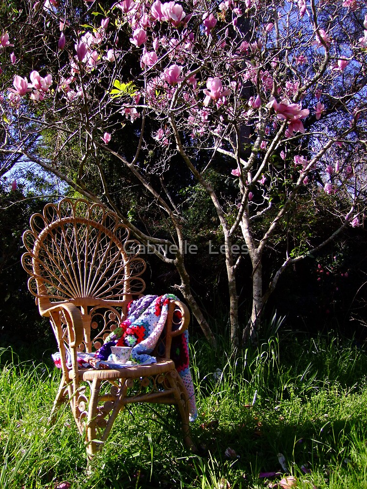 Peacock Chair Under The Magnolia by Gabrielle  Lees