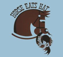 Horse Eats Hat (Brown) Vintage Poster Kids Tee