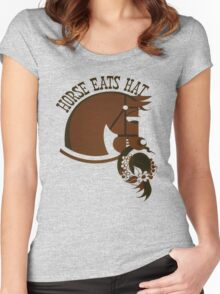 Horse Eats Hat (Brown) Women's Fitted Scoop T-Shirt