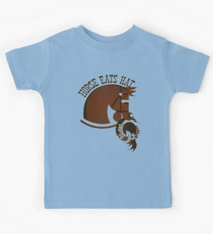 Horse Eats Hat (Brown) Vintage Poster Kids Tee