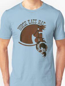 Horse Eats Hat (Brown) T-Shirt