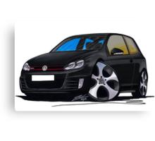 VW Golf GTi (Mk6) Black Canvas Print