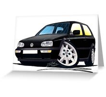 VW Golf (Mk3) Black Greeting Card