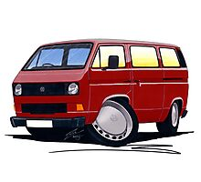 VW T25 / T3 D.Red Photographic Print
