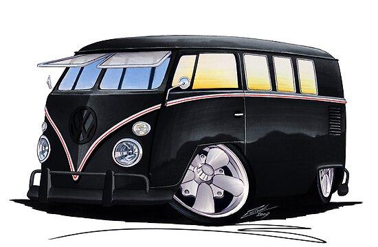 VW Splitty (11 Window) F (Black) by Richard Yeomans