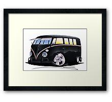 VW Splitty (11 Window) F (Black) Framed Print