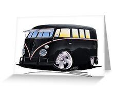 VW Splitty (11 Window) F (Black) Greeting Card