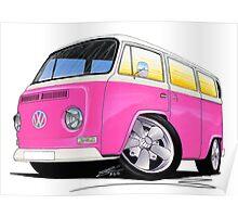 VW Bay Window Camper Van A Pink Poster