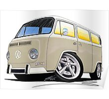VW Bay Window Camper Van B Cream Poster