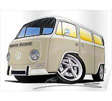 VW Bay Window Camper Van B Cream Poster