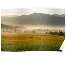 Golden Mountain Sunrise, Cades Cove, Smoky Mountain National Park Poster