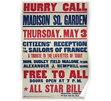 Hurry call Madison Sq GardenCitizens reception to the sailors of FranceAll star bill 002 Poster