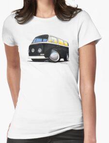 VW Bay Window Camper Van Black Womens Fitted T-Shirt
