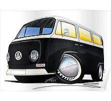 VW Bay Window Camper Van Black Poster