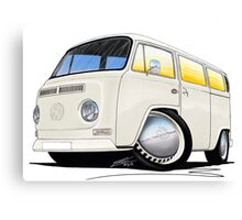 VW Bay Window Camper Van White Canvas Print
