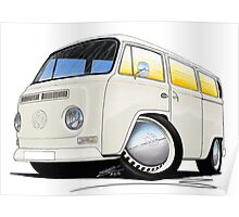 VW Bay Window Camper Van White Poster
