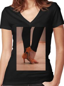 Woman Dance shoes Women's Fitted V-Neck T-Shirt