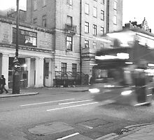 Black and White London Bus  by verbose