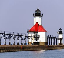 North Pier Lights, St. Joseph, Michigan by Kenneth Keifer