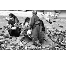 BLACK AND WHITE-FEED THE BIRDS-ONLY RUPEE FOR THE DAY! Photographic Print