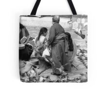 BLACK AND WHITE-FEED THE BIRDS-ONLY RUPEE FOR THE DAY! Tote Bag
