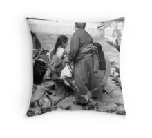 BLACK AND WHITE-FEED THE BIRDS-ONLY RUPEE FOR THE DAY! Throw Pillow