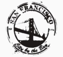 San Francisco - City By The Bay - Grunge Vintage Retro T-Shirt by Denis Marsili