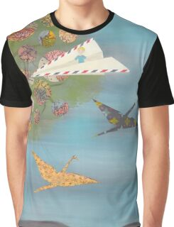 Boy in a Paper Plane flying into the World Map Tree Graphic T-Shirt