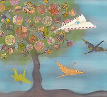 Boy in a Paper Plane flying into the World Map Tree by Sukilopi