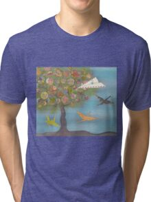 Boy in a Paper Plane flying into the World Map Tree Tri-blend T-Shirt