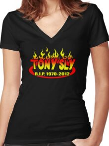 R.I.P. TONY SLY!! Women's Fitted V-Neck T-Shirt