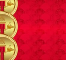 Chinese New Year, Year Of The Monkey, With Coins Sticker
