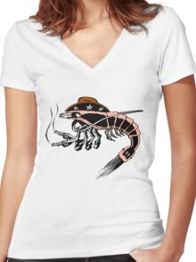 Prawn Women's Fitted V-Neck T-Shirt