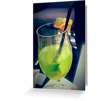 Green Teddy Cocktail Greeting Card