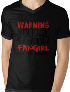 Warning, Fangirl. Mens V-Neck T-Shirt