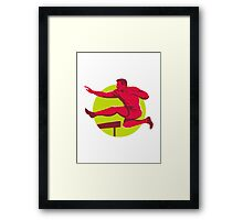 track and field athlete jumping hurdles Framed Print