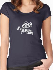 Best Beware My Sting - White Text Women's Fitted Scoop T-Shirt
