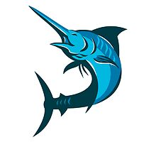 blue marlin fish jumping retro by retrovectors