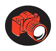 DSLR digital camera front retro by retrovectors