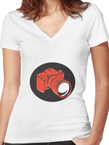 DSLR digital camera front retro Women's Fitted V-Neck T-Shirt
